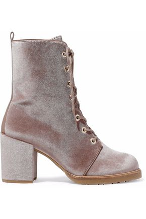 STUART WEITZMAN Leather-trimmed velvet ankle boots