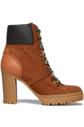 SEE BY CHLOÉ Leather-paneled nubuck ankle boots