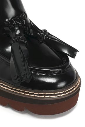 856c517ee7570 ... SEE BY CHLOÉ Zina fringe-trimmed patent-leather wedge loafers ...