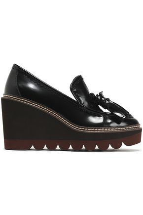 SEE BY CHLOÉ Zina fringe-trimmed patent-leather wedge loafers