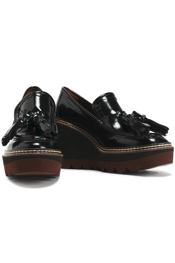 04d11a5f6116c Zina fringe-trimmed patent-leather wedge loafers