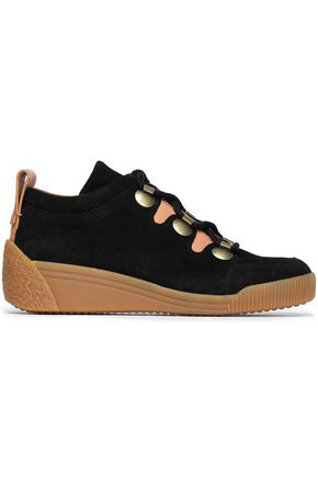 SEE BY CHLOÉ Leather-trimmed suede wedge sneakers