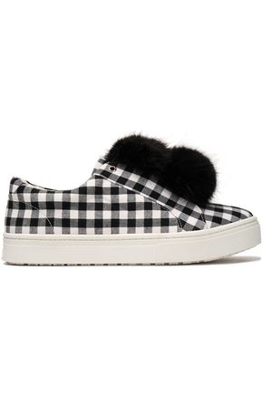 SAM EDELMAN Faux fur-trimmed gingham canvas slip-on sneakers