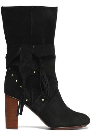 SEE BY CHLOÉ Fringe-trimmed studded suede boots