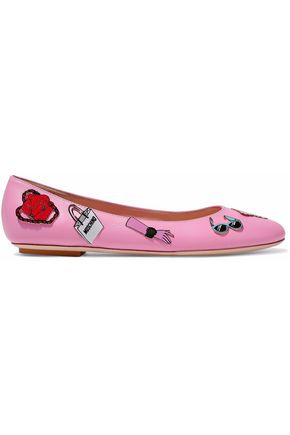 MOSCHINO Appliquéd leather ballet flats