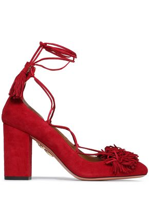 AQUAZZURA Fringed suede pumps