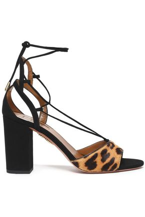 AQUAZZURA Leopard-print calf hair and suede sandals
