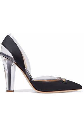 MOSCHINO Appliquéd PVC-paneled leather pumps