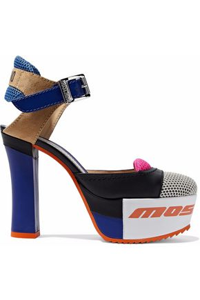 MOSCHINO Color-block mesh, suede and leather platform pumps
