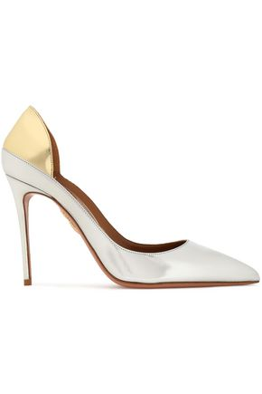 AQUAZZURA Fellini two-tone mirrored-leather pumps