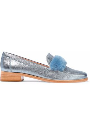 LOEFFLER RANDALL Greta shearling-trimmed metallic cracked-leather loafers