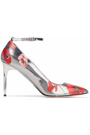 OSCAR DE LA RENTA Floral-print mirrored-leather pumps