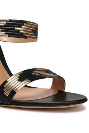 GIANVITO ROSSI Suni matte and metallic leather sandals