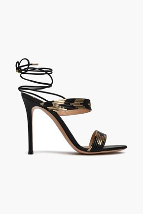 GIANVITO ROSSI Suni matte and metallic leather sandals