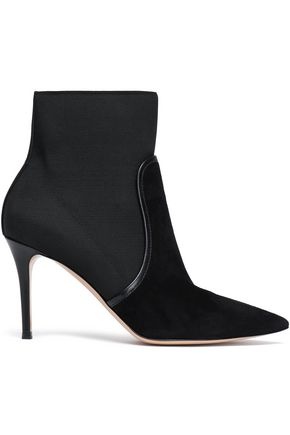 GIANVITO ROSSI Leather-trimmed stretch-knit and suede sock boots