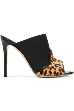 GIANVITO ROSSI Janet leopard-print calf hair and elastic mules