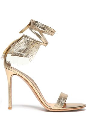 GIANVITO ROSSI Fringed metallic leather sandals