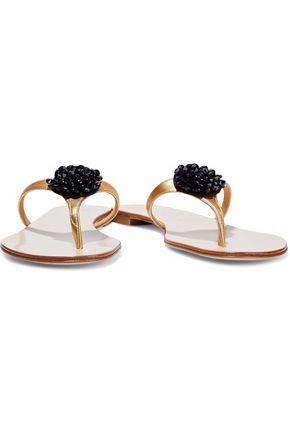 GIUSEPPE ZANOTTI Bead-embellished metallic leather sandals
