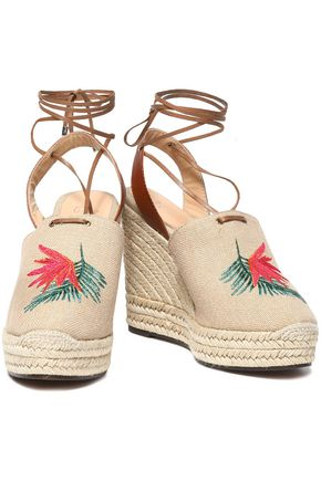 CASTAÑER Embroidered canvas wedge espadrilles
