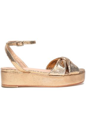 CASTAÑER Twist-front metallic leather platform sandals