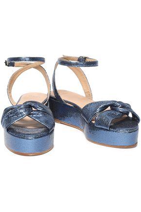 08366dcaea8 CASTAÑER Twist-front metallic snake-effect leather platform sandals