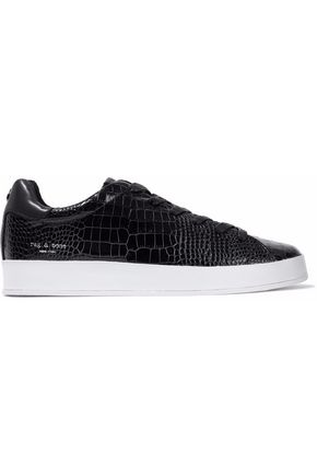 RAG & BONE RB1 croc-effect patent-leather sneakers