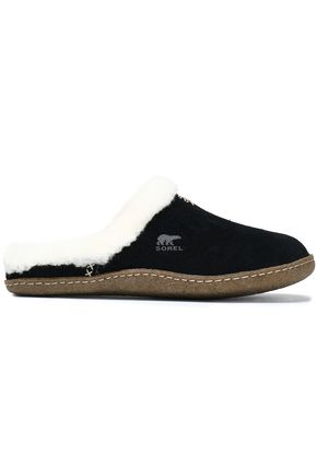 SOREL Faux fur-trimmed suede slippers