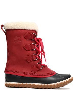 SOREL Faux fur-trimmed suede boots