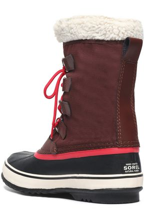 SOREL Winter Carnival faux shearling-trimmed rubber and canvas snow boots