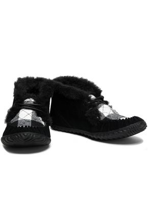 SOREL Faux fur-trimmed checked suede moccasins