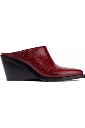 RAG & BONE Santiago croc-effect leather wedge mules