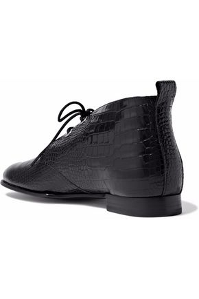 RAG & BONE Audrey croc-effect glossed-leather ankle boots