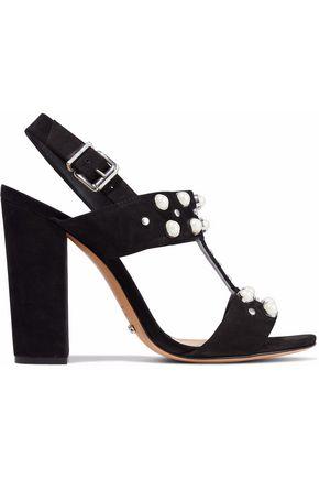 SCHUTZ Zarita embellished croc-effect leather slingback sandals