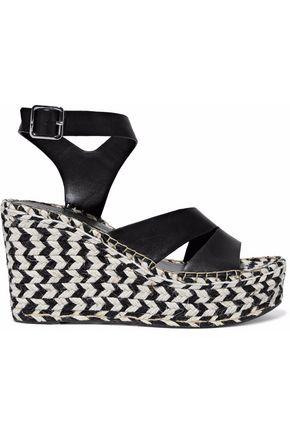 SIGERSON MORRISON Arien mirrored-leather espadrille wedge sandals