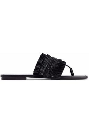 SIGERSON MORRISON Braided raffia patent-leather slides