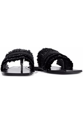 Avis Raffia Trimmed Patent Leather Slides by Sigerson Morrison