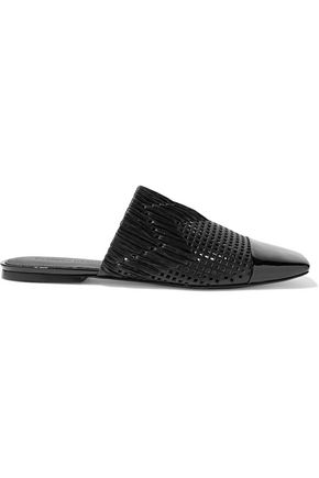 SIGERSON MORRISON Gallia raffia-trimmed perforated patent-leather slippers