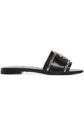 ROBERTO CAVALLI Embellished leather slides