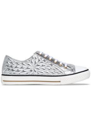 ROBERTO CAVALLI Quilted metallic-leather sneakers