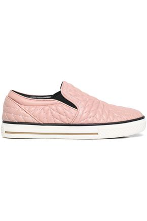 ROBERTO CAVALLI Quilted leather slip-on sneakers