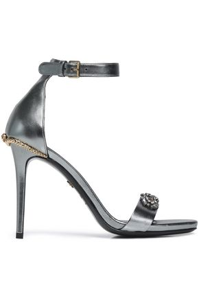 ROBERTO CAVALLI Embellished metallic-leather sandals