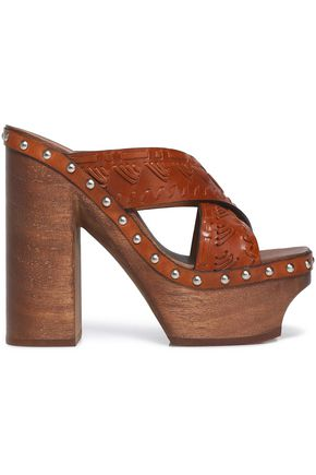ROBERTO CAVALLI Studded woven leather platform mules