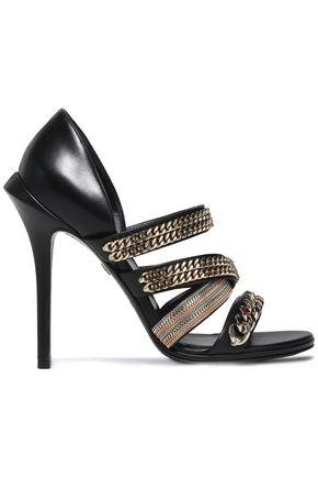 ROBERTO CAVALLI Chain-embelished leather sandals