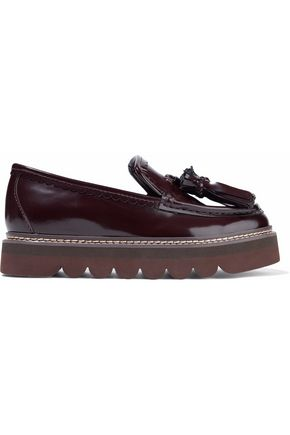 SEE BY CHLOÉ Tasseled glossed-leather platform loafers