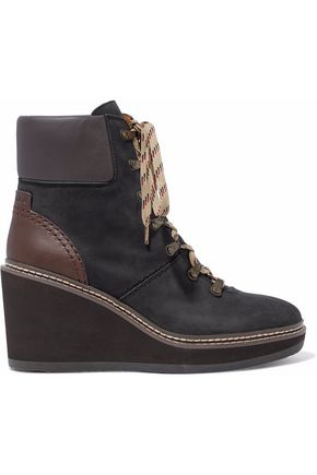 SEE BY CHLOÉ Leather-paneled nubuck wedge ankle boots
