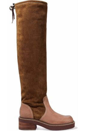 SEE BY CHLOÉ Leather-paneled suede over-the-knee boots