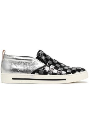 MARC JACOBS Sequined smooth and metallic leather slip-on sneakers