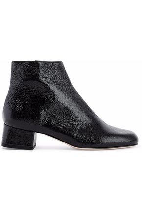 RED(V) Glossed cracked-leather ankle boots