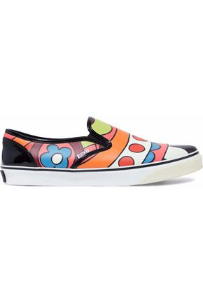 REDValentino Printed leather slip-on sneakers