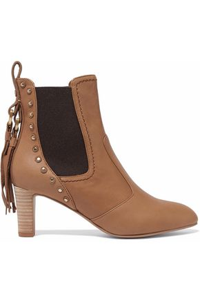 SEE BY CHLOÉ Dasha studded textured-leather ankle boots